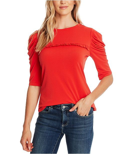 CeCe Puffed-Sleeve Knit Top