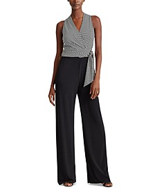 Houndstooth Surplice Jumpsuit