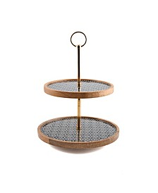 CLOSEOUT! Modern Global Two-Tier Wood & Enamel Stand