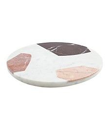 CLOSEOUT! Round Multi-Color Marble Serving Board