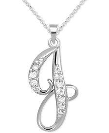 "Diamond J Initial 18"" Pendant Necklace (1/10 ct. t.w.) in Sterling Silver"