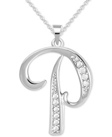 "Diamond P Initial 18"" Pendant Necklace (1/10 ct. t.w.) in Sterling Silver"