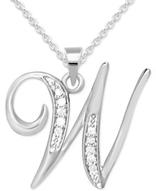 "Diamond W Initial 18"" Pendant Necklace (1/10 ct. t.w.) in Sterling Silver"