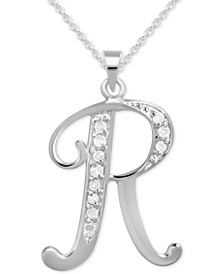 "Diamond R Initial 18"" Pendant Necklace (1/10 ct. t.w.) in Sterling Silver"