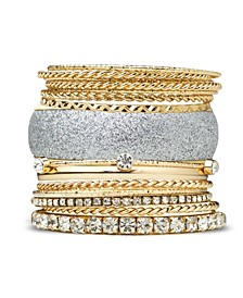 Bracelet Glitter and Metal Bangle Set