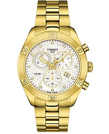 Women's Swiss Chronograph PR 100 Sport Chic T-Classic Diamond (1/20 ct. t.w.) Gold-Tone Stainless Steel Bracelet Watch 38mm