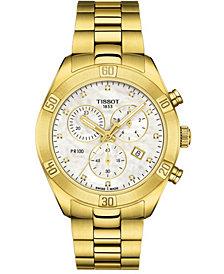 Tissot Women's Swiss Chronograph PR 100 Sport Chic T-Classic Diamond (1/20 ct. t.w.) Gold-Tone Stainless Steel Bracelet Watch 38mm