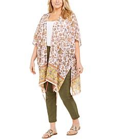 Trendy Plus Size Border-Print Kimono