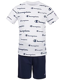 Little Boys 2-Pc. Script Logo T-Shirt & Logo Shorts Set