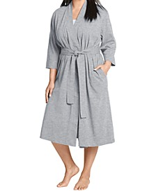 Plus Size Everyday Essentials Cotton Long Wrap Robe