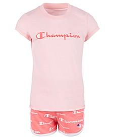 Little Girls 2-Pc. Classic Logo T-Shirt & Script Logo Shorts Set