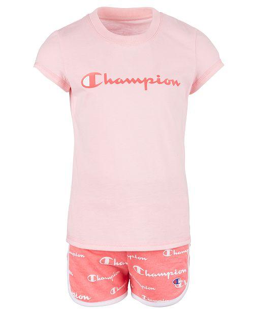 Champion Toddler Girls 2-Pc. Classic Logo T-Shirt & Script Logo Shorts Set