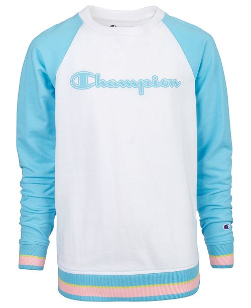 Champion Big Girls Yarn-Dye Logo Sweatshirt