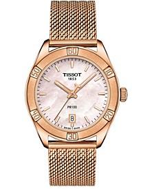 Women's Swiss PR 100 Sport Chic T-Classic Rose Gold-Tone Stainless Steel Mesh Bracelet Watch 36mm