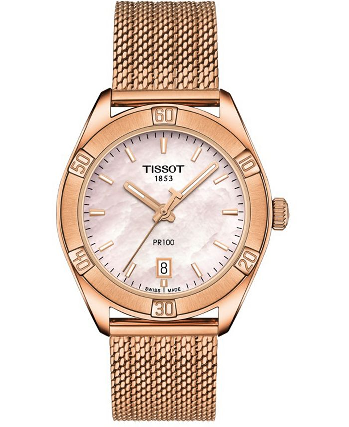 Tissot - Women's Swiss PR 100 Sport Chic T-Classic Rose Gold-Tone Stainless Steel Mesh Bracelet Watch 36mm