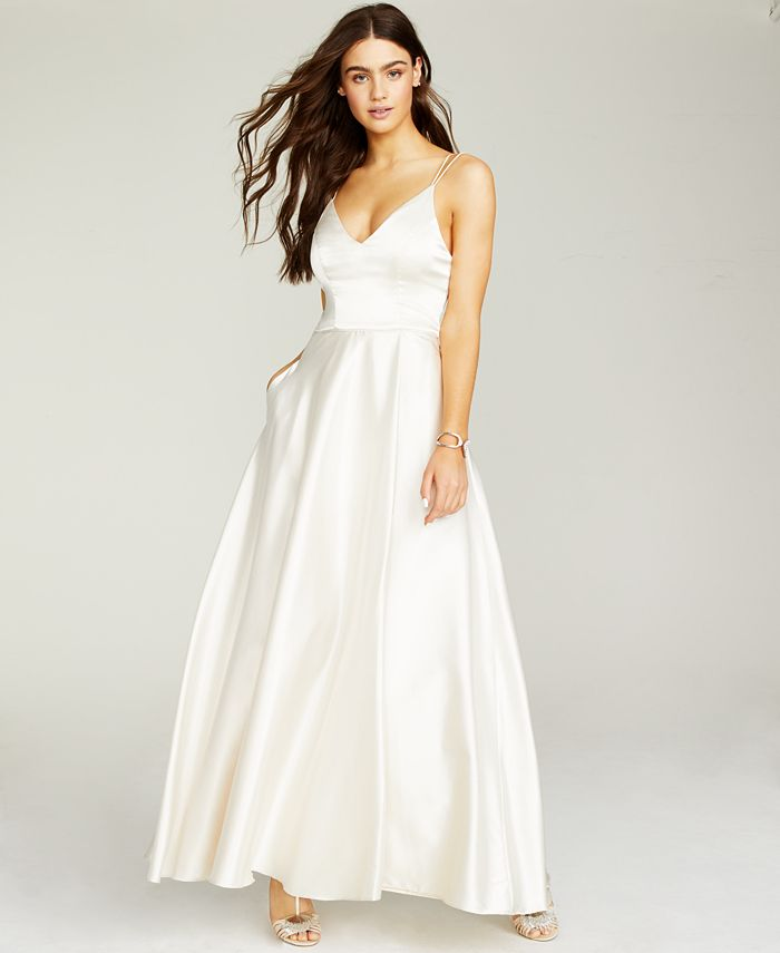 Sequin Hearts - Juniors' Strappy-Back Satin Gown