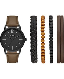 Men's Brown Vegan Leather Strap Watch 44mm Gift Set