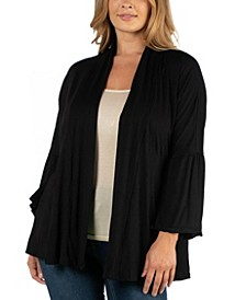 Long Flared Sleeve Open Front Plus Size Cardigan
