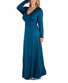 Semi Formal Long Sleeve Plus Size Maxi Dress