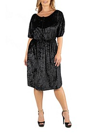 Off Shoulder Knee Length Black Velvet Plus Size Dress