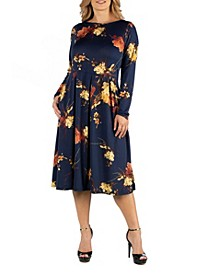 Floral Long Sleeve Fit N Flare Maternity Midi Dress