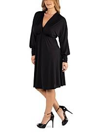Long Sleeve V-Neck Plus Size Cocktail Dress