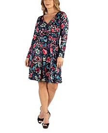 Floral Print Long Sleeve Plus Size Wrap Dress