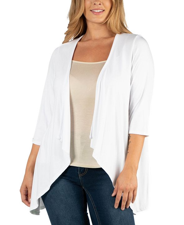 24seven Comfort Apparel Elbow Length Sleeve Plus Size Open Cardigan