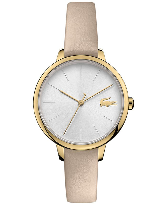 Lacoste - Women's Cannes Taupe Leather Strap Watch 34mm