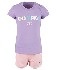 Toddler Girls 2-Pc. Varsity T-Shirt & Shorts Set