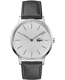 Men's Moon Gray Leather Strap Watch 40.5mm