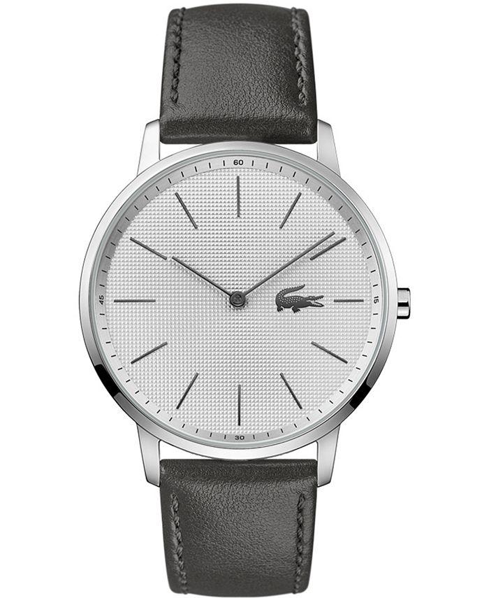 Lacoste - Men's Moon Gray Leather Strap Watch 40.5mm