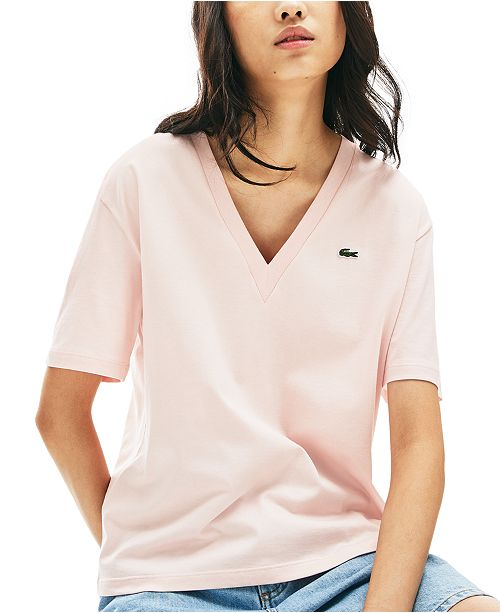 Lacoste Women's Relaxed-Fit Solid Cotton-Jersey V-Neck T-Shirt