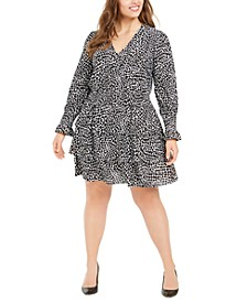 Plus Size Tiered Animal-Print Dress