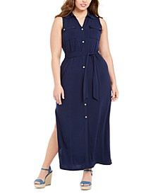 Plus Size Sleeveless Maxi Shirtdress