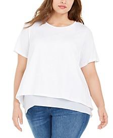 Plus Size Chiffon-Trim T-Shirt
