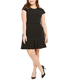 Plus Size Embellished Flounce-Hem Shift Dress