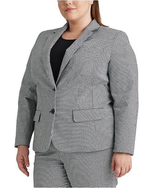 Lauren Ralph Lauren Plus-Size Pinstripe Cotton-Twill Blazer