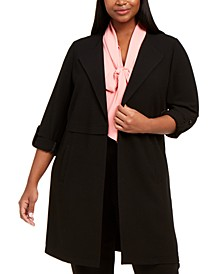 Trendy Plus Size Textured Soft Roll-Sleeve Topper Jacket, Created For Macy's