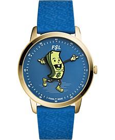 Men's Minimalist Blue Silicone Strap Watch 44mm