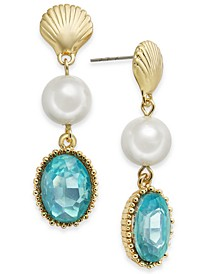 Gold-Tone Shell, Imitation Pearl & Stone Linear Drop Earrings, Created for Macy's