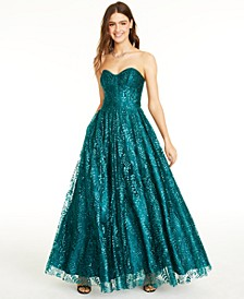Juniors' Glitter Corset Gown