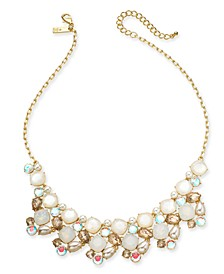 "INC Gold-Tone Stone & Glass Multi-Cluster Statement Necklace, 18"" + 3"" extender, Created for Macy's"