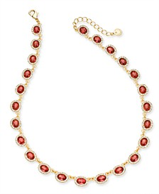 "Gold-Tone Stone & Halo Statement Necklace, 17"" + 2"" extender, Created for Macy's"