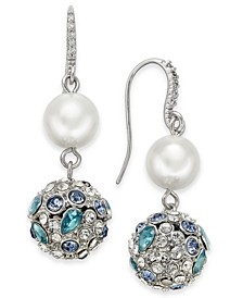Silver-Tone Imitation Pearl & Crystal Ball Drop Earrings, Created for Macy's