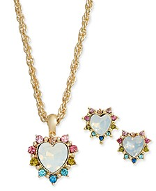 Gold-Tone 2-Pc. Set Stone & Rainbow Crystal Heart Pendant Necklace & Matching Stud Earrings, Created for Macy's