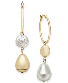 INC Gold-Tone Hoop & Imitation Pearl Mismatch Drop Earrings, Created for Macy's