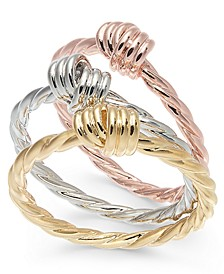 INC Tri-Tone 3-Pc. Set Twist Rings, Created for Macy's