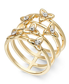 INC Gold-Tone Pavé Flower Multi-Row Stack Ring, Created for Macy's