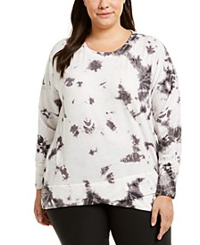 Plus Size Tie-Dye Tulip-Hem Top, Created For Macy's